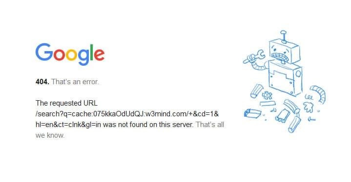 Google Cache 404 Error